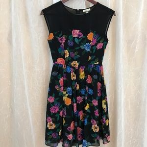 Black floral casual party dress Ambar XS